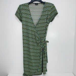 SOHO Geometric pattern wrap dress short sleeve